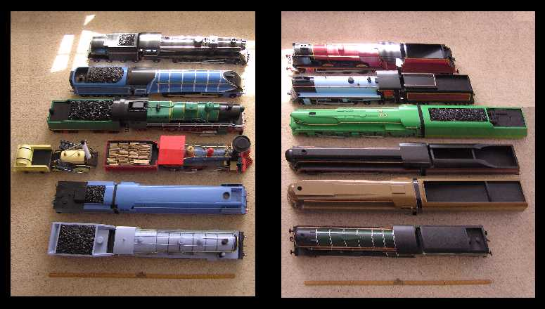 2 columns of model train icons